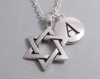 Star of David Hebrew Necklace, Star of David Charm, Antique Silver, Silver Plated Charm, Star of David Keychain, Personalized, Monogram