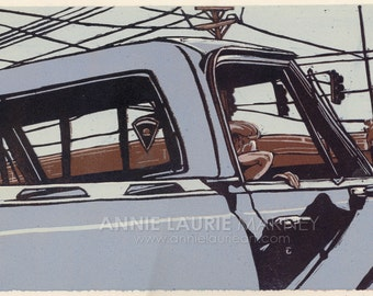"Saturday Afternoon - 9x12.5""  - Original, Limited Edition Linocut"