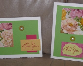 Handmade Cards - Thank You - Glittery Flowers - Set of Two - 3D Embellishments - FREE Shipping
