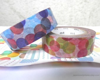 Pack of 2 - Spotty Washi Masking Tape MT Deco Autumn 2011 design -15mm x10m ( Colorful bright dots 2 roll set )