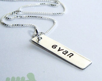 Personalized handstamped bar charm necklace... One Silver Bar 22 Gauge Thick  with no birthstone