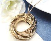 Gold  Danish Love Knot Necklace - Long Necklace Eternal Love