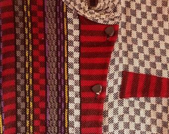 Tregea Bevan sweater knit shirt jumper pullover L boho punk eighties mod op art check checkerboard