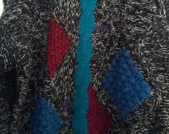 Botany 500 XL grunge 80s jumper sweater XL men boho punk men geometric modern eighties