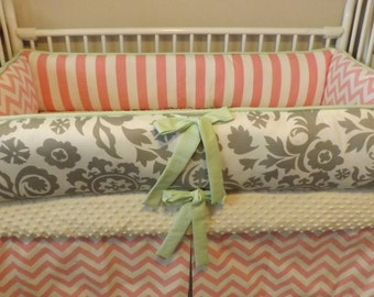 Baby bedding Girl Crib sets with Pink chevron, Mint and Gray DEPOSIT Down payment only read details