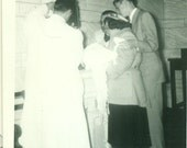 1950s Catholic Church Baptism New Baby Mother Father Priests Vintage Black and White Photo Photograph