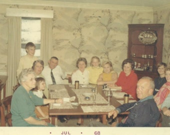 Gathered Around the Table Large Family Party 1960s South Carolina SC Vintage Color Photo Photograph