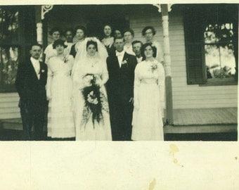 Wedding Day Bride Groom White Dress Veil Bouquet Front Porch Victorian RPPC Real Photo Postcard Vintage Antique Black White Photo Photograph