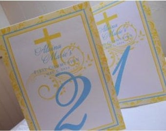 Baptism Table Numbers - Your Colors - Tented Table numbers