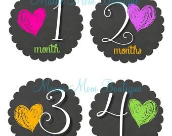 FREE GIFT, Monthly Baby Girl Stickers, Baby Month Stickers,  Milestone Stickers, Newborn Bodysuit, Hearts, Newborn Baby Photo Prop