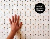Removable Wallpaper // Falling Arrows Print // ADHERES to walls and shelves