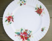 "8"" Royal Albert Christmas Poinsettia salad or dessert plate - hierloom traditional holiday china"
