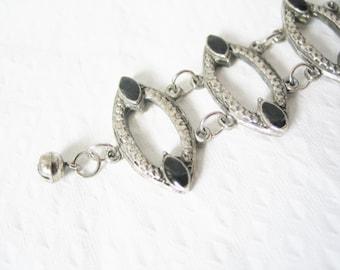 Chunky silver tone Afghan kuchi black enamel bracelet