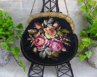 Vintage Black Petit Point Purse...Rich Roses...Evening Purse...Downton Abbey