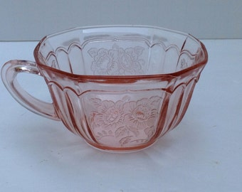 "Vintage Mayfair ""Open Rose"" Pink Cup by Hocking Glass Company"