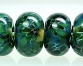 sale boro handmade lampwork bead set in peacock blues and greens glass handmade beads set of 6 by paulbead