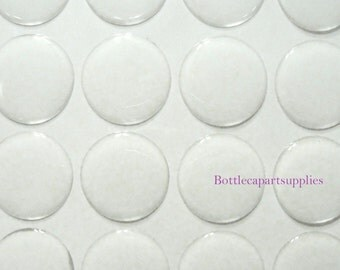 """12 pcs Clear 1""""  Epoxy Adhesive Resin Dome Circles Bottle Cap Seals Stickers."""