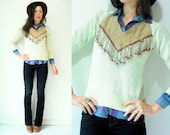 70's Vintage Cream Knit Sweater / Taupe Suede Leather V Neck / Wood Beaded Leather Fringe / Small