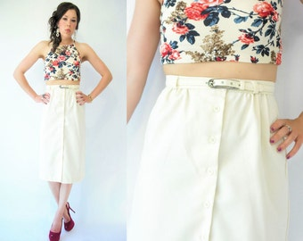 Vintage 80's Ivory Cream High Waist Pencil Skirt / Button Up Front / Midi Tea Length / Matching Waist Belt