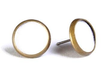 Sale Clearance 20% OFF - White velvet hypoallergenic stud earrings (488)