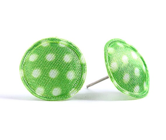 Green polka dots applique satin hypoallergenic studs earrings READY to ship (425) - Flat rate shipping