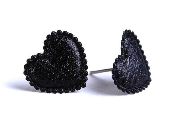Black heart fabric surgical steel hypoallergenic stud earrings READY to ship (335) - Flat rate shipping