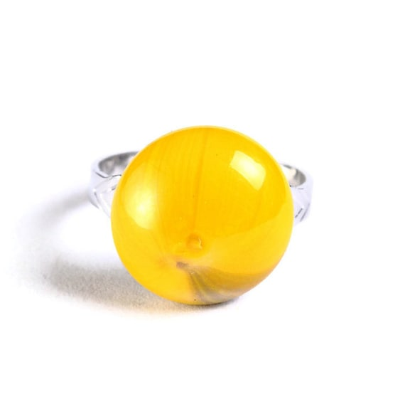 Yellow glass adjustable silver ring petite cocktail ring OOAK (681) - Flat rate shipping