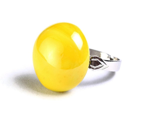 Yellow glass adjustable silver ring OOAK (672)
