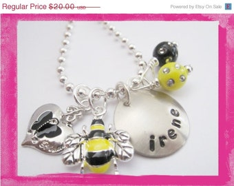 Personalized Charm Necklace - BUMBLE BEE - Hand Stamped Necklace  #x507