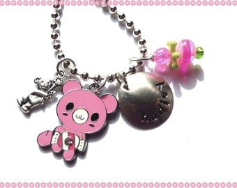 Personalized Jewelry - Hand stamped Necklace for Children - MY TEDDY BEAR #f144