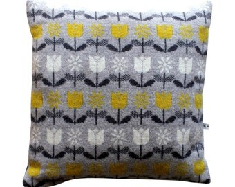 40cm Knitted Lambswool Daisy and Tulip cushion