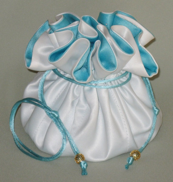 Brides Jewelry Organizer--- White Wedding Bridal Satin Drawstring Pouch---Large Size---Choose your satin color!!