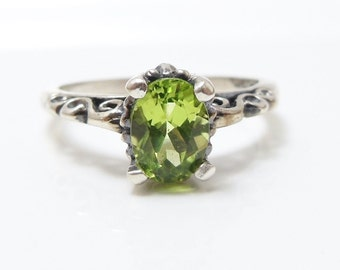 Natural Peridot Ring, Sterling Silver Gemstone Ring, Faceted Gemstone, Engagement Ring, August Birthstone for women