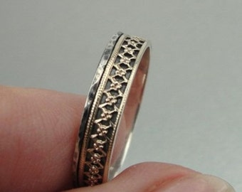 Newc Israel Fabulous Filigree Delicate 9k yellow Gold 925 sterling Silver Ring sz 8 (I r253Y
