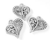 12 Heart charms antique silver metal  heart pendants 15mm x 14mm B1992 -DD2 lead free,nickel free double sided