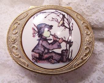 Little Hummel Bugel Boy, Enamel Jewelry Keepsake Box, Vintage Metal Trinket Box, Ring Box Casket, Cottage Shabby Chic, Container