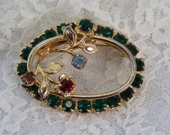 Vintage Delicate Dark Green Rhinestone Gold Flower Brooch, Wreath Rhinestone Metal Oval Pin, Wedding Bridal Costume Estate Jewelry