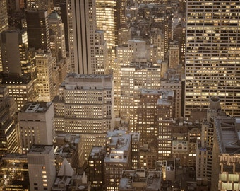 New York Photograph, Nyc Skyline Skyscrapers Photo Night Evening Manhattan Neutral Colors Beige Brown Wall Art nyc74
