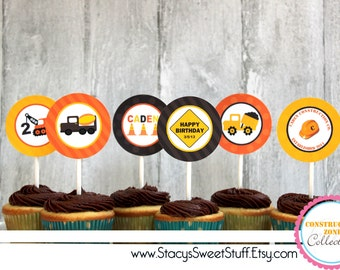 Construction Birthday Cupcake Toppers, DIY, PRINTABLE