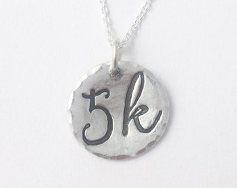 5k running necklace - Round 5k Silver Necklace