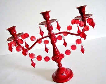 Fiery Red Scarlet Candelabra MADE TO ORDER
