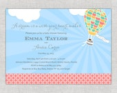 Whimsy Coral Baby Shower Invitation with Hot Air Balloon with bright blue horizon colorful