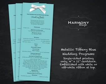 Metallic Aqua Blue Green Wedding Programs, Single-sided, embellished with White or Off-White Bow - Set of 25