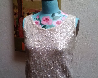 Shimmy Shimmy///vtg 60's 100% wool Beaded Opal Cream Sequined Shell Tank Cocktail Evening Top///sz S-M
