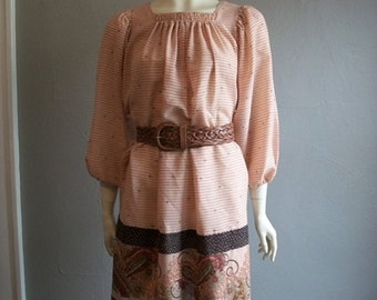 80s PEASANT style smocked dress with paisley print size medium
