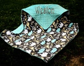 Baby Boy Blanket-Zoology Sea-Animals-Zoo-Turquoise Minky-Personalized-Baby-Toddler-Stroller-Crib Sizes