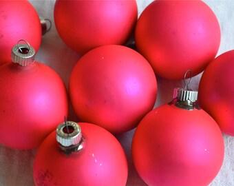 Vintage Mercury Glass Ornaments - Matte Hot Pink - 8