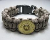 Paracord Survival Bracelet Remington Shotgun Shell 12 Gauge Tan Brown