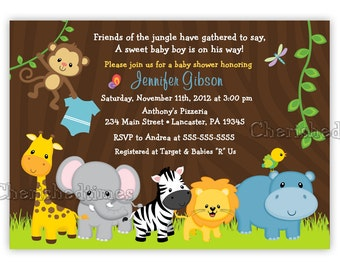 Jungle Friends Girl or Boy Baby Shower or Birthday Invitation (Digital File)