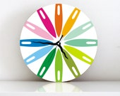 Wall clock Rainbow colorful striped geometric round large wall clock